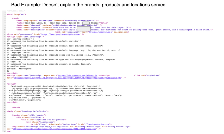 Website HTML Title Tags and Meta Descriptions